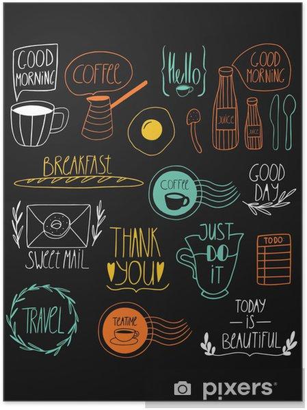 Plakat Doodle Druku Kuchnia Sztuki Rano Jedzenie I Ręcznie Drukiem