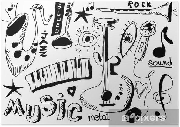 Plakat Doodle Instrumenty Muzyczne