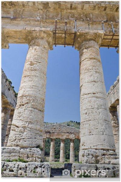 Plakat Doryckiej świątyni Segesta w Sycylia, Włochy - Europa