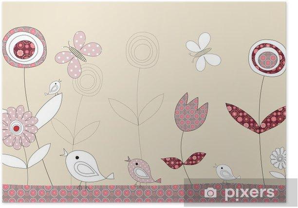 Plakat Dość patchwork ptaki historia, ilustracja - Tła