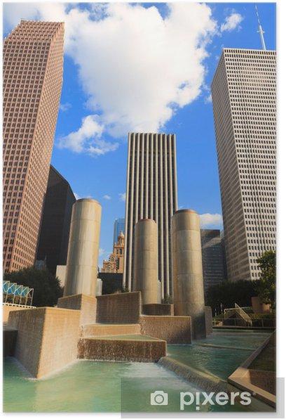 Plakat Downtown Houston Texas - Budynki prywatne