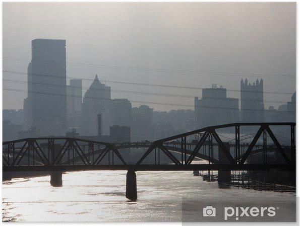 Plakat Dowtown Pittsburgh i most kolejowy - Ameryka