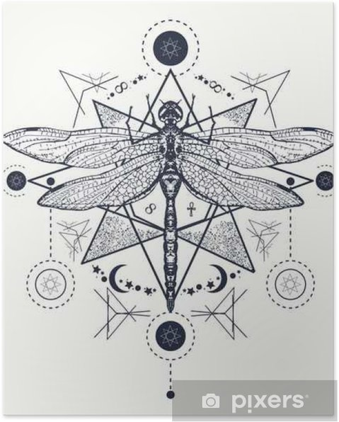 Plakat Dragonfly Tatuaż Ręcznie Rysowane Mistyczne Symbole I Owady