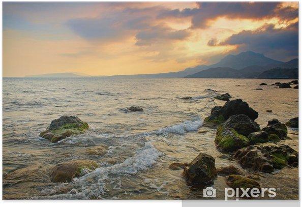 Plakat Dramatic sunset sea - Woda