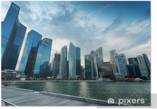 Plakat Drapacze chmur w dzielnicy finansowej w Singapurze - Miasta azjatyckie