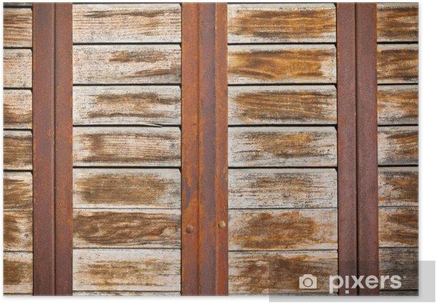 Plakát Dřevěná prkna povrch rezavé kovovými pásy pozadí - Struktury