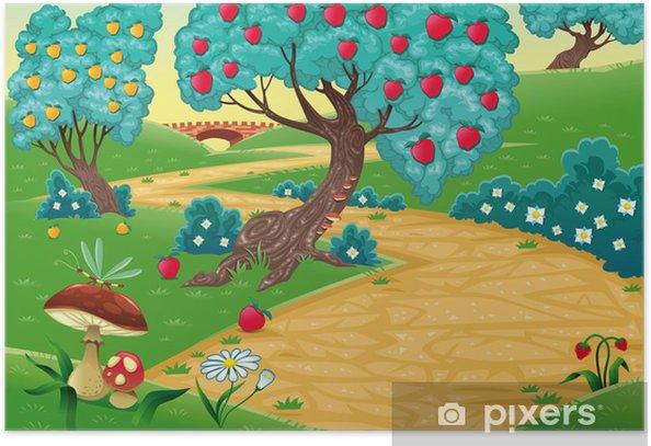 Plakat Drewna z drzew owocowych. kreskówki i ilustracji wektorowych - Lasy