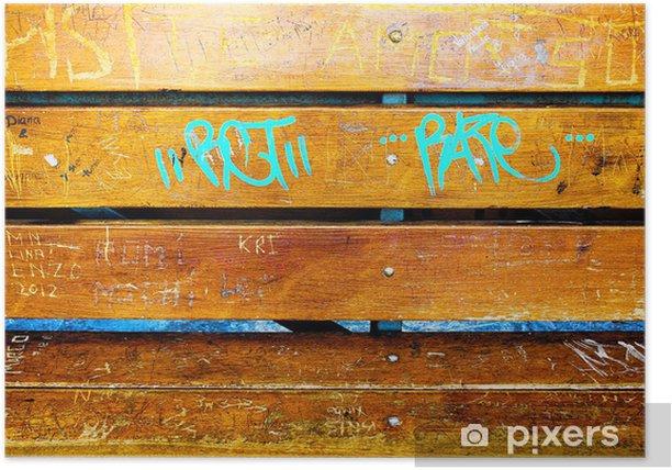 Plakat Drewniana ławka z graffity Ligth-niebieski - Tła