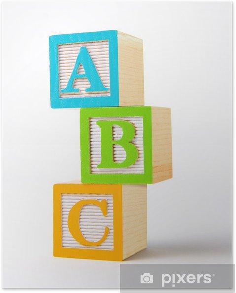Plakat Drewniane klocki alfabetu -