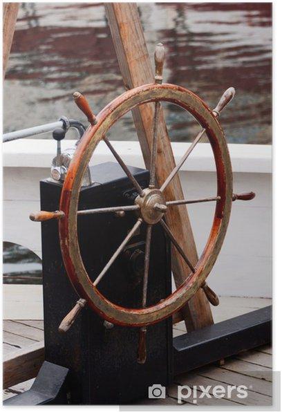 Plakat Drewniane koło sterowe na starej łodzi - Europa