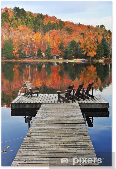 Plakat Drewniany dock na jesieni jeziora - Tematy