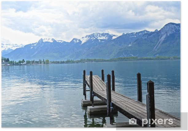 Plakat Drewniany Dock w Genewie jeziora, Szwajcaria - Europa