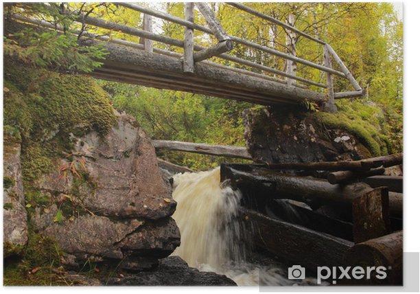 Plakat Drewniany młyn nad rzeką jesienią, Finlandia - Europa