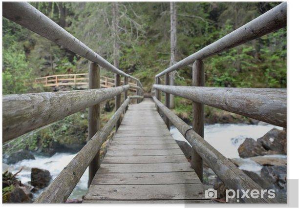 Plakat Drewniany most w lesie - Transport drogowy