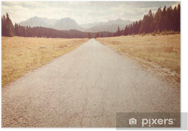 Plakat Droga w kierunku gór - Vintage obraz - Zasoby graficzne