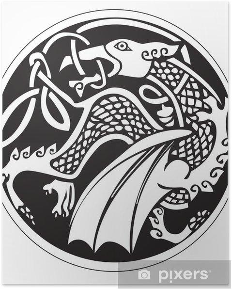 Plakát Druidic astronomický symbol draka - Nálepka na stěny