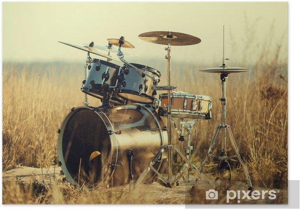 Plakat Drum Set na świeżym powietrzu - Muzyka