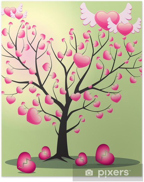 Plakat Drzewo miłości z serc - Drzewa