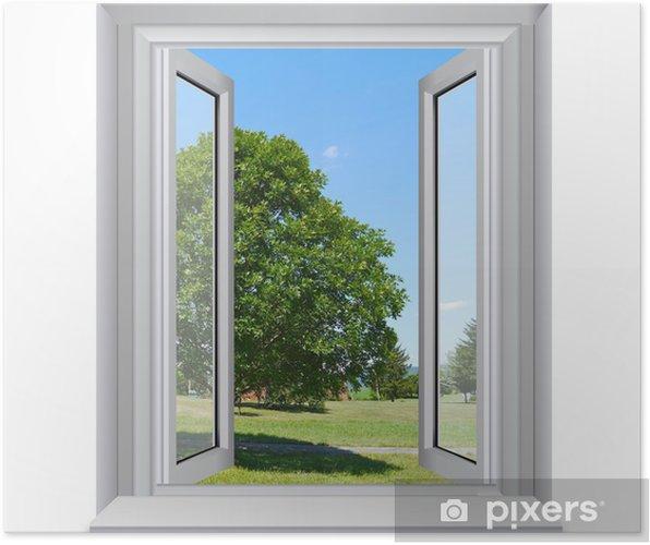 Plakat Drzewo na zewnątrz okna - Naklejki na ścianę