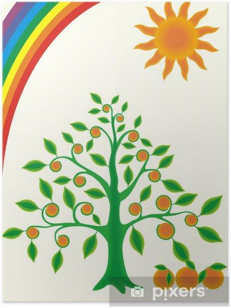 Plakat Drzewo pomarańczowe - Szczęście