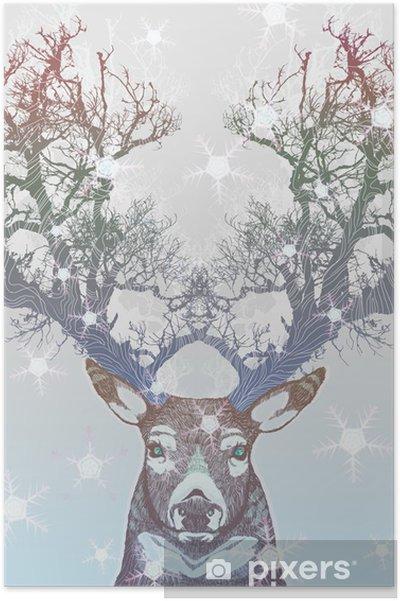 Plakat Drzewo rogów jelenia mrożone -