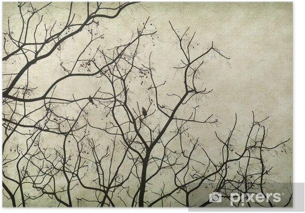 Plakat Drzewo stare zabytkowe grunge tekstury papieru. - Sztuka i twórczość