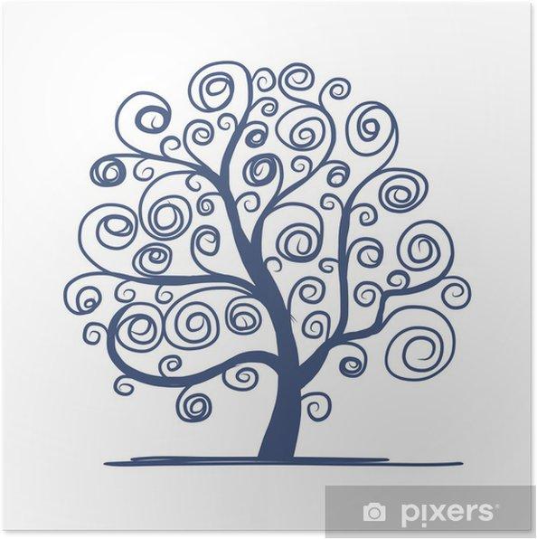 Plakat Drzewo sztuki piękne projekt - Pory roku