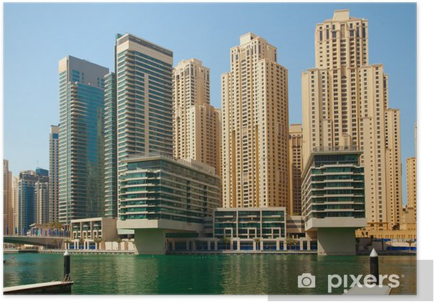 Plakat Dubai Marina wieżowce - Bliski Wschód