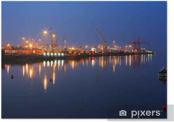 Plakat Dublin Port nocą widziany z mostu East Toll-Link - Europa