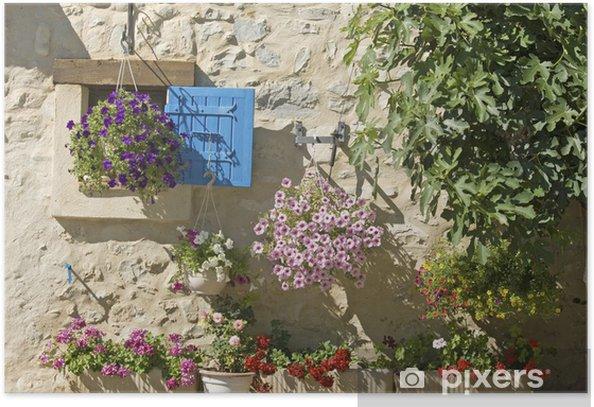 Plakát Dům, modré okenice s květinou v Provence, Francie. - Evropa