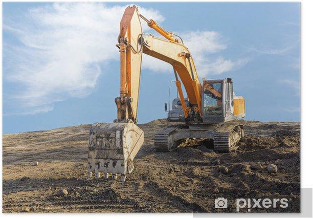 Plakat Duża koparka na budowie - Maszyny