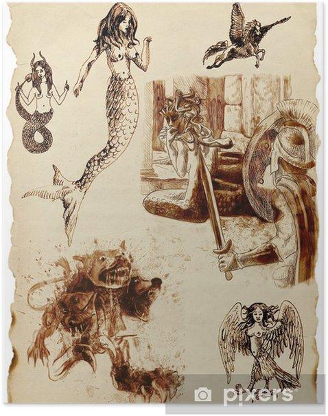 Plakat Duża seria mistycznych stworzeń na starej kartce papieru - Ezoteryka