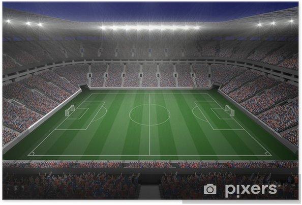 Plakat Duży stadion piłkarski z oświetleniem - Mecze i zawody