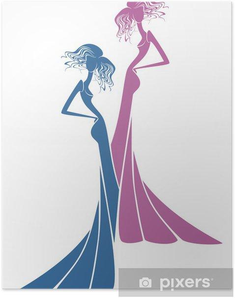 Plakát Dvě siluety dívek - Móda