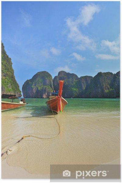 Plakát Dvě turistické lodě s různobarevnými hedvábné šátky - Voda