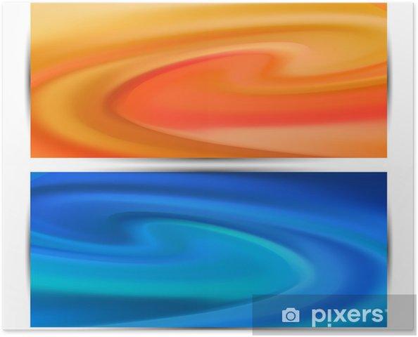 Plakát Dvě vlny v jemných pastelových abstraktní pozadí pro design - Abstraktní