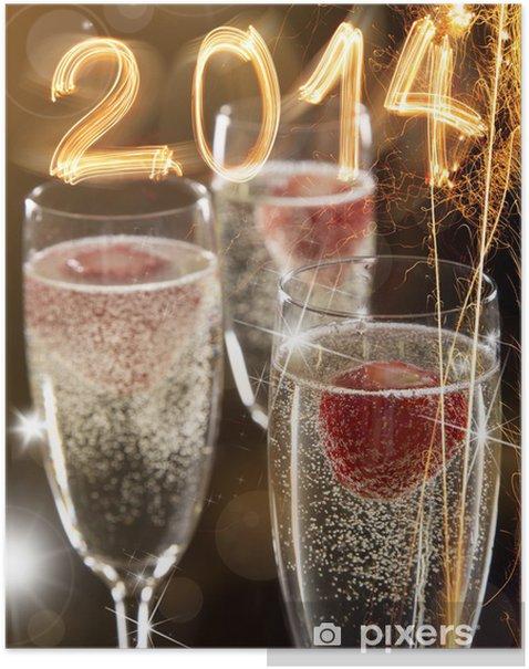 Plakát Dvojice šampaňského flétny - Jídla