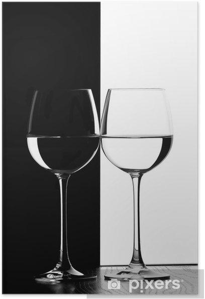 Plakat Dwa kieliszki do wina. - Wino