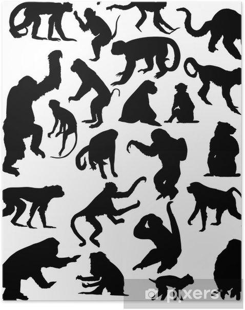 Plakat Dwadzieścia dwa czarne pojedyncze sylwetki małpa - Ssaki