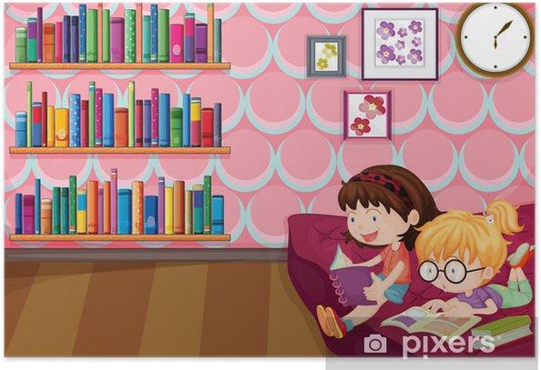Plakat Dwie dziewczyny w domu czytania - Czytanie