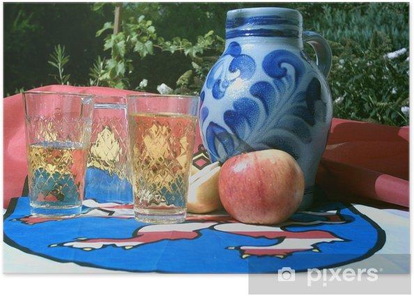 Plakat Dzbanek cydr (Bembel) i kieliszek wina apple - Alkohol