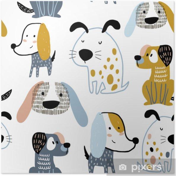 Plakat Dziecinne Szwu Z Zabawnych Kreatywnych Psów Modny Skandynawski Tło Wektor Idealny Do Odzieży Dziecięcej Tkanin Tkanin Dekoracji