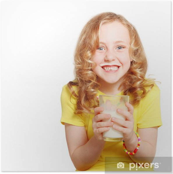 Plakat Dziecko pije mleko - Mleko
