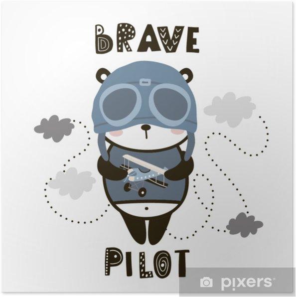 Plakat Dzielna pilotażowa panda. kreskówka panda dla dzieci. dziecięcy nadruk na żłobek, dziecięcy strój, plakat, pocztówka. ilustracji wektorowych - Zasoby graficzne
