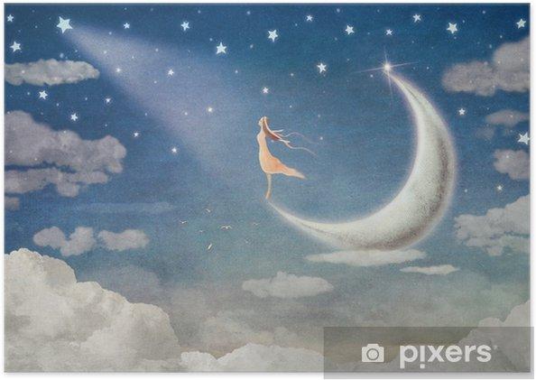 Plakat Dziewczyna na księżycu podziwia nocne niebo - ilustracja sztuki - Uczucia i emocje