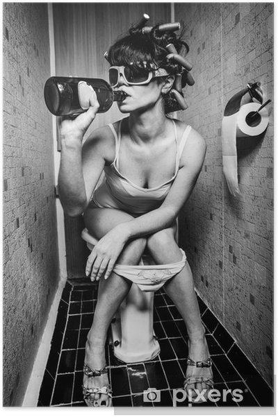 Plakat Dziewczyna siedzi w toalecie -