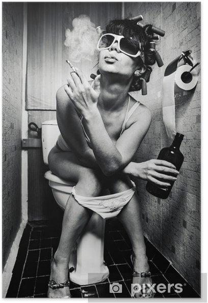 Plakat Dziewczyna siedzi w toalecie - Nałogi