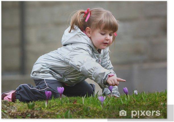 Plakat Dziewczyna z krokusy - Pory roku