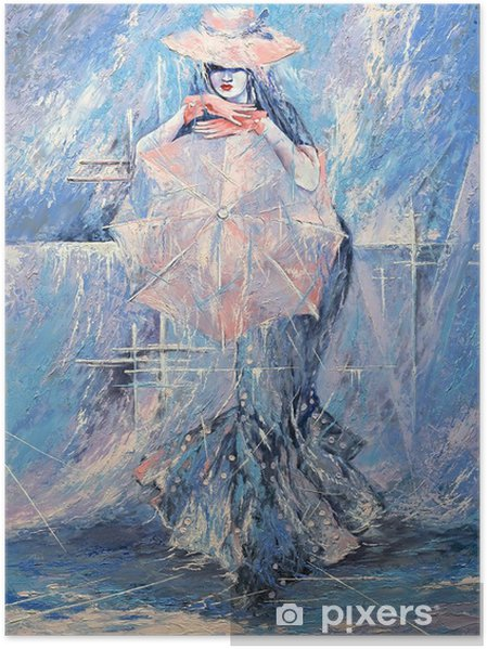 Plakat Dziewczyna z parasolem -