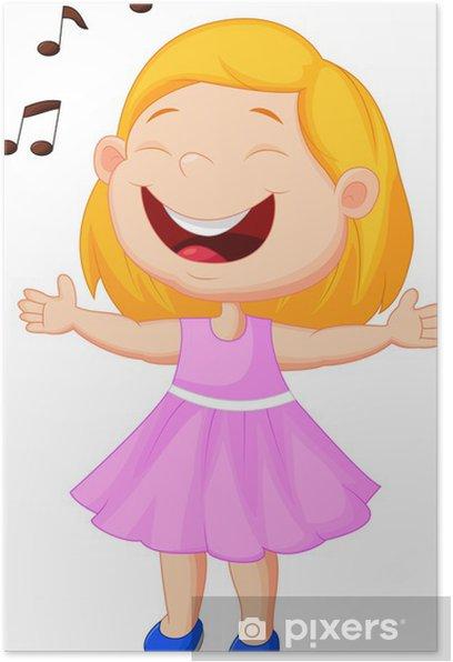 Plakat Dziewczynka śpiewa - Naklejki na ścianę